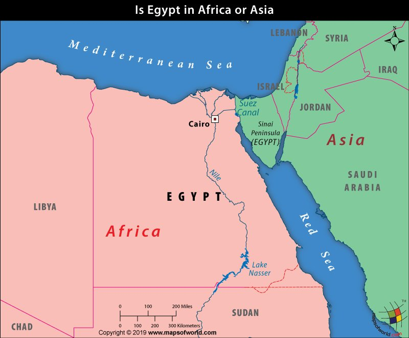 Map Showing Location of Egypt