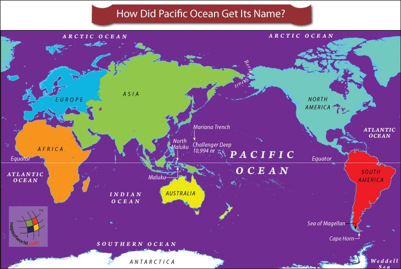 Oceans of the world answers world map highlighting pacific ocean gumiabroncs Image collections