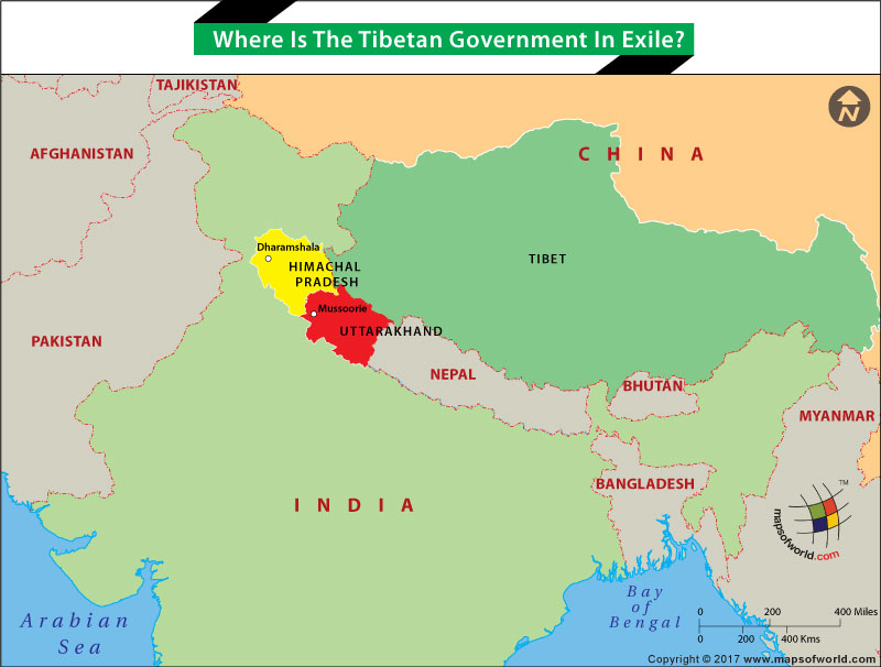 Map locating Indian states from where Tibetian Government in exile functions