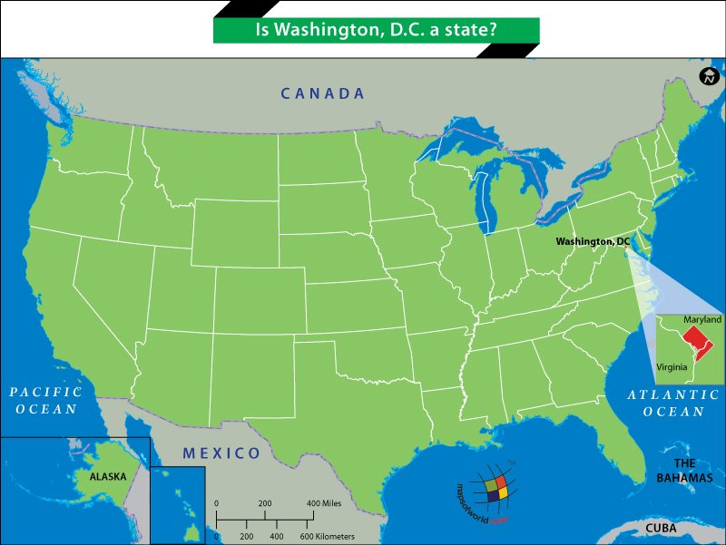 Is Washington DC A State Answers - Us map showing washington dc