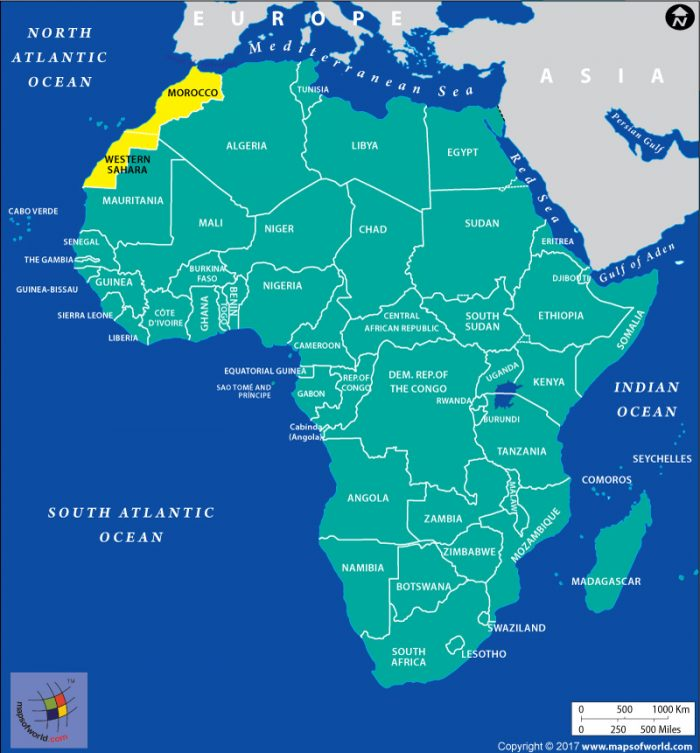 Map of Africa showing Western Sahara and Morocco