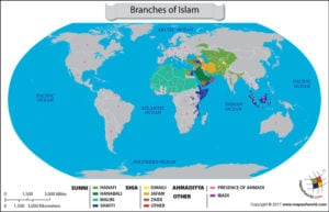World Map – Presence of different branches of Islam in different countries