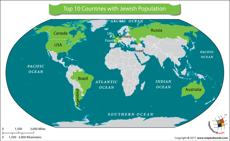 Countries with Jew Population  Answers
