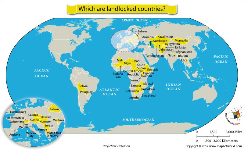 Which are landlocked countries answers world map showing landlocked countries gumiabroncs Choice Image