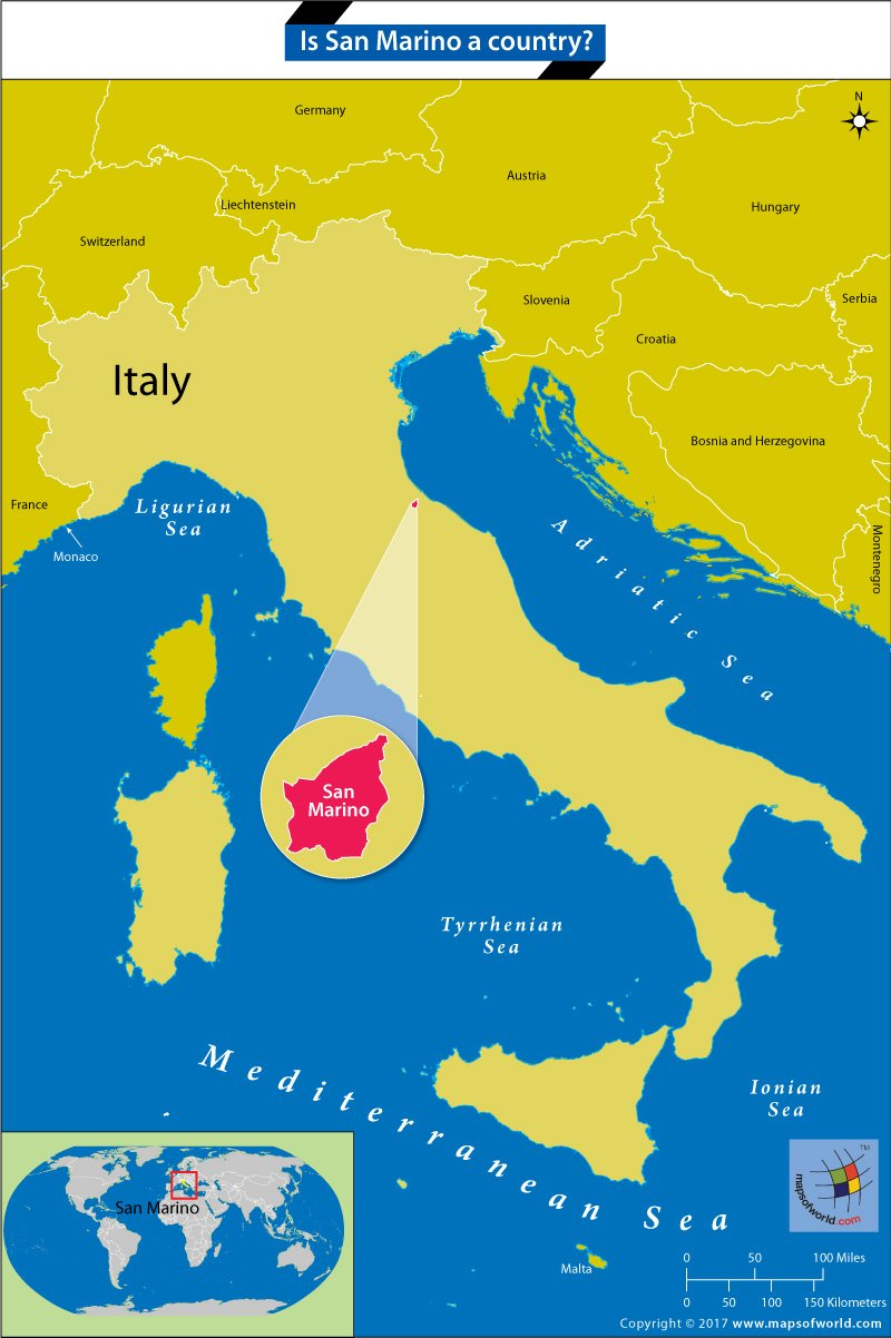 Map locating San Marino within Italy
