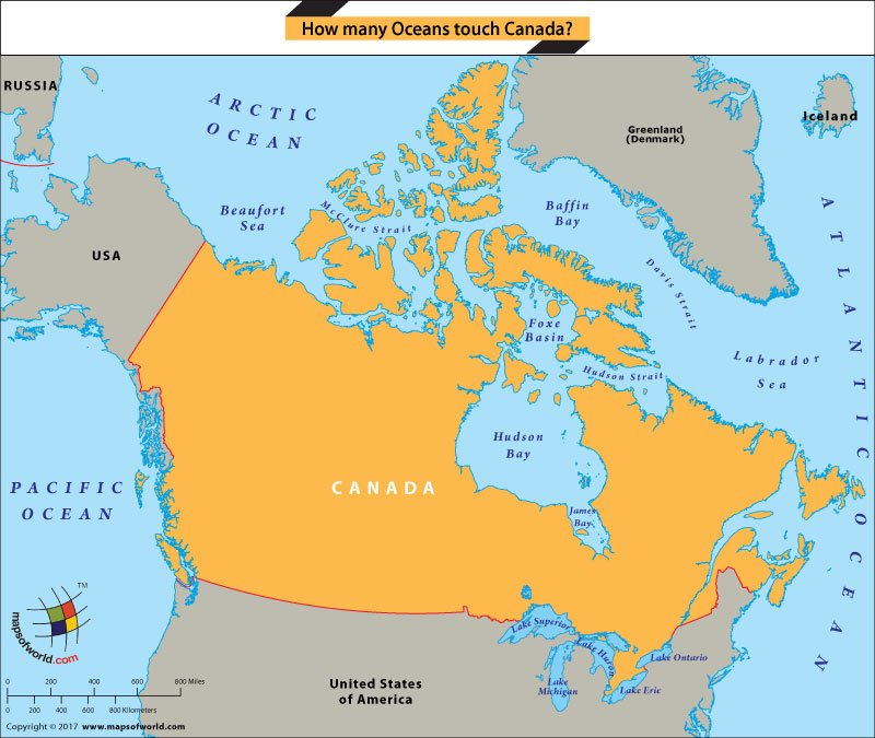 Arctic Ocean Canada Map How many Oceans touch Canada?   Answers
