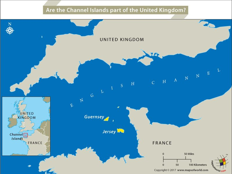 Map highlighting location of Channel Islands between UK and France