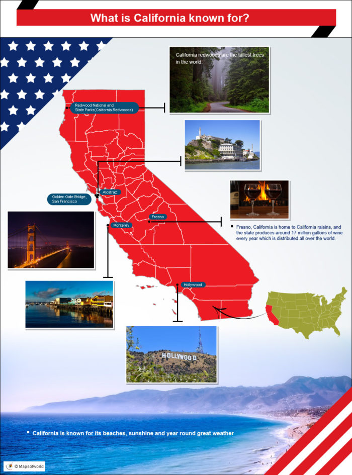 Infographic on what California is known for