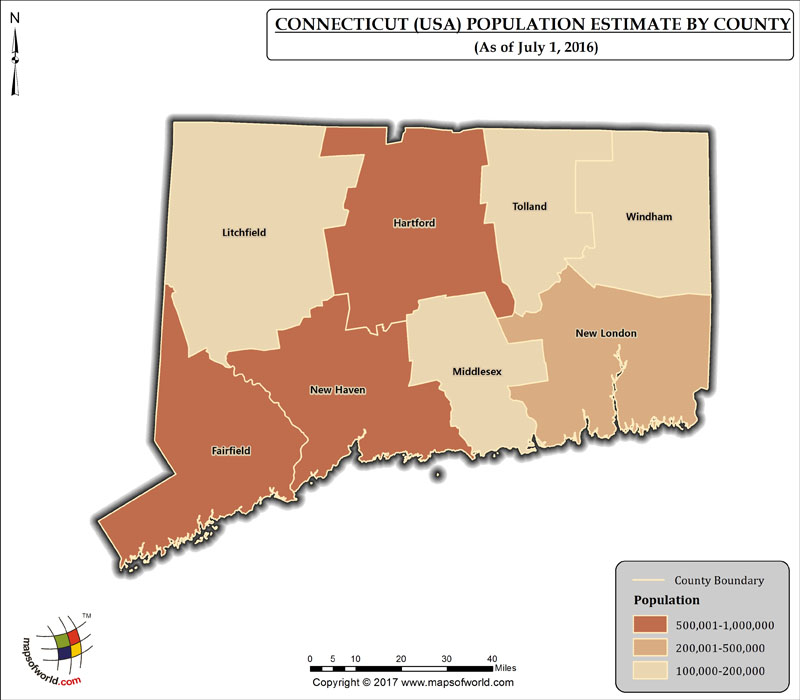 Connecticut Population Map