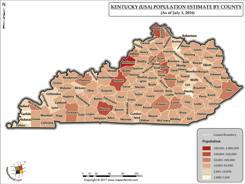 Kentucky Population Map