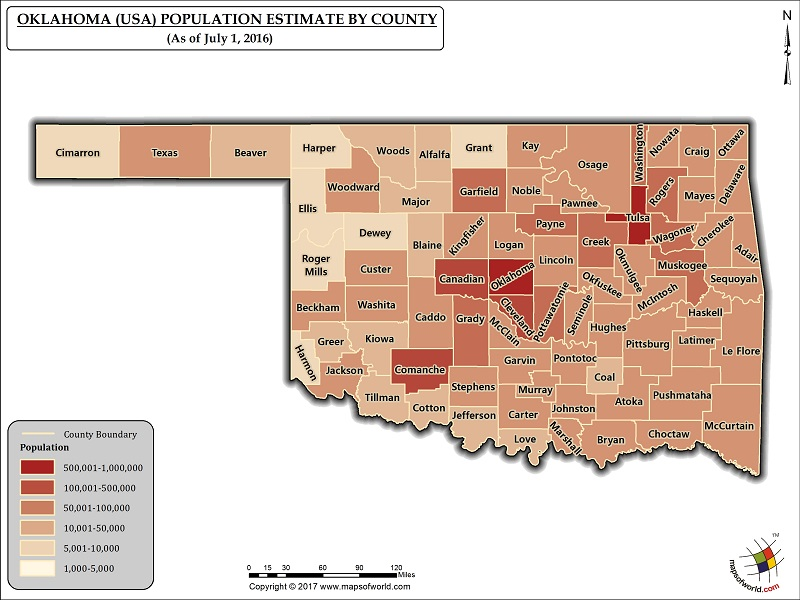 Oklahoma Population Map
