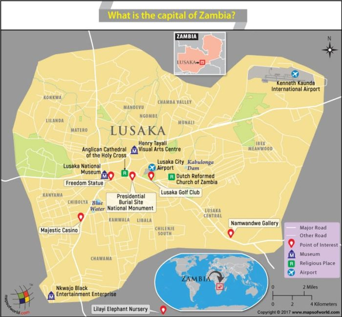 Map Of Lusaka City  The Capital Of Zambia