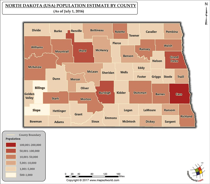North Dakota Population Map
