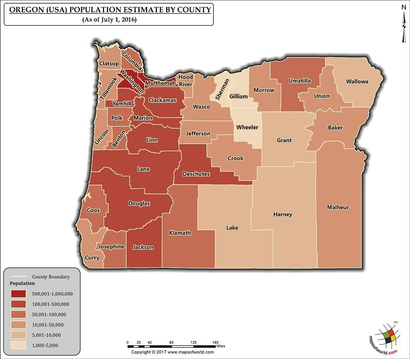 Oregon Population Map