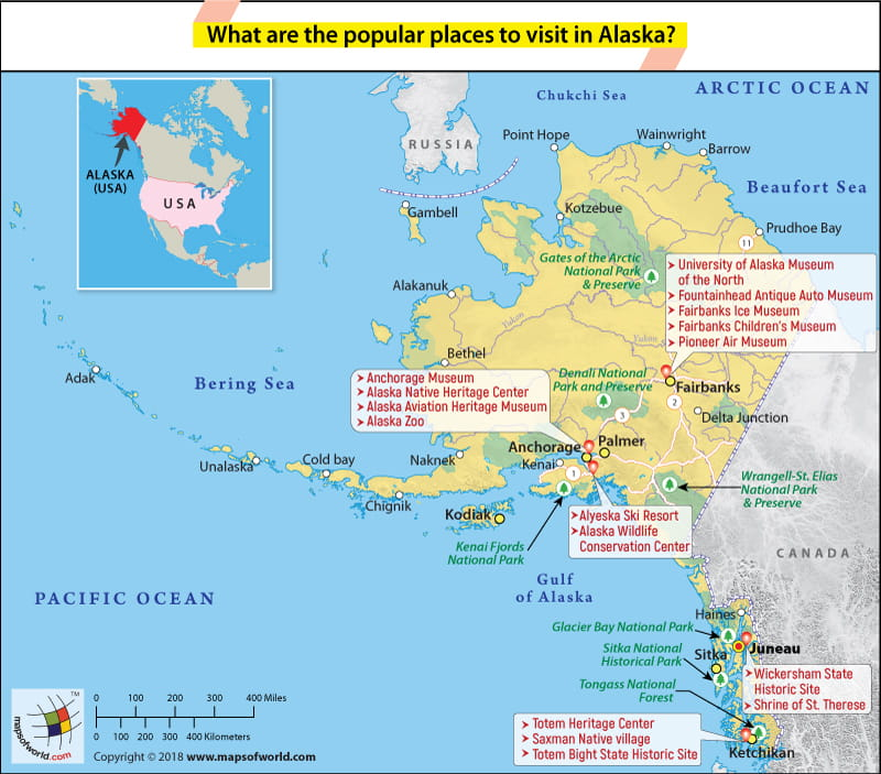 Alaska Map showing the most popular places to visit Answers