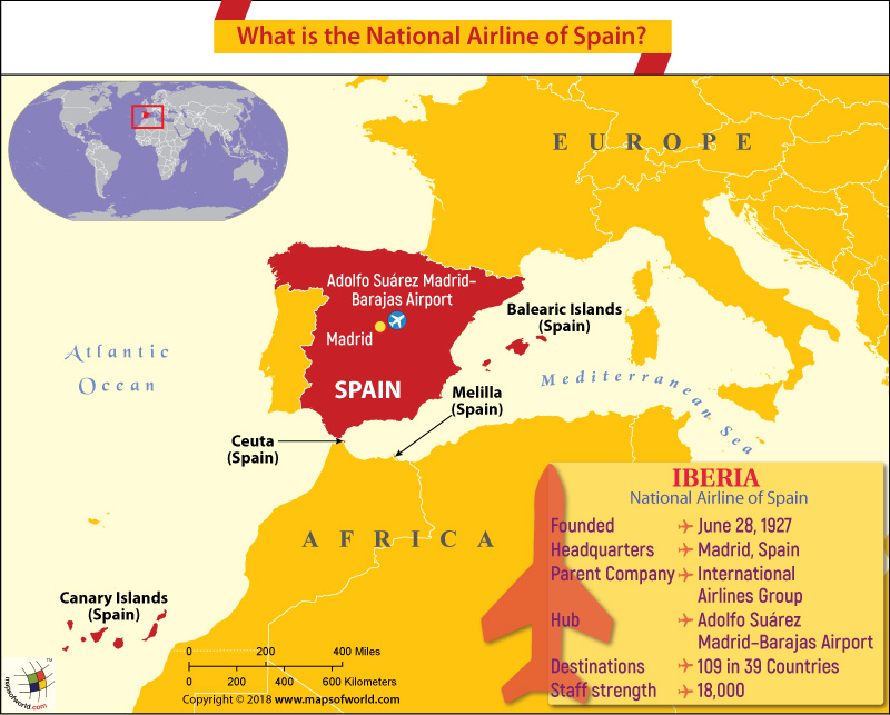 Spain Map highlighting the headquarters of Iberia Airways