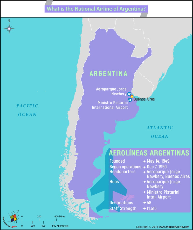 Map of Argentina highlighting the headquarter location and other info of national airline of the country