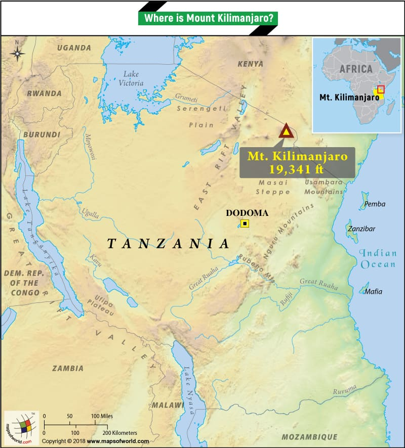 Map pinpointing the location of Mount Kilimanjaro in Tanzania