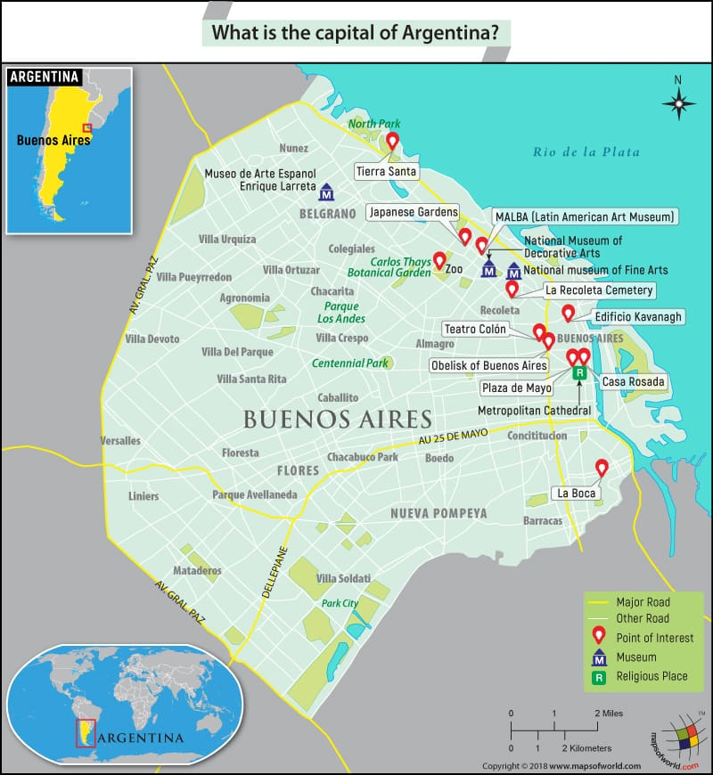 Map of Buenos Aires, the capital city of Argentina