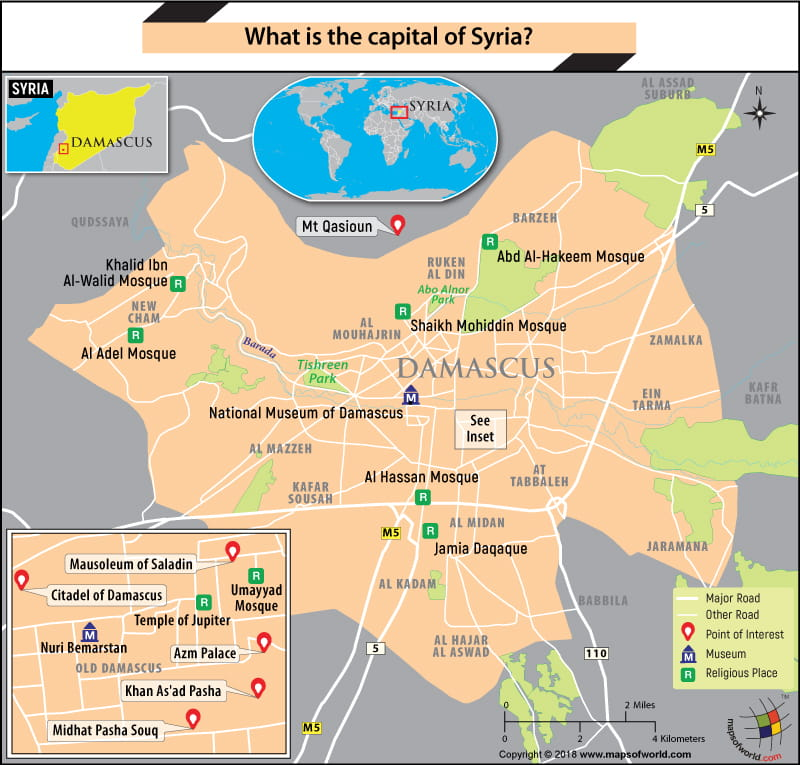 Map of Damascus city, the capital of Syria
