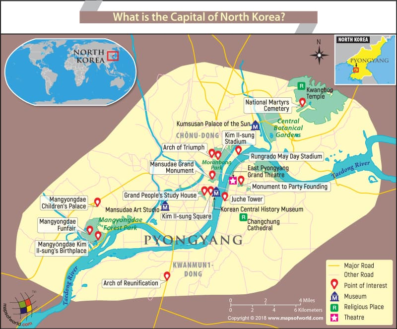 Map of P'yŏngyang, the capital of North Korea