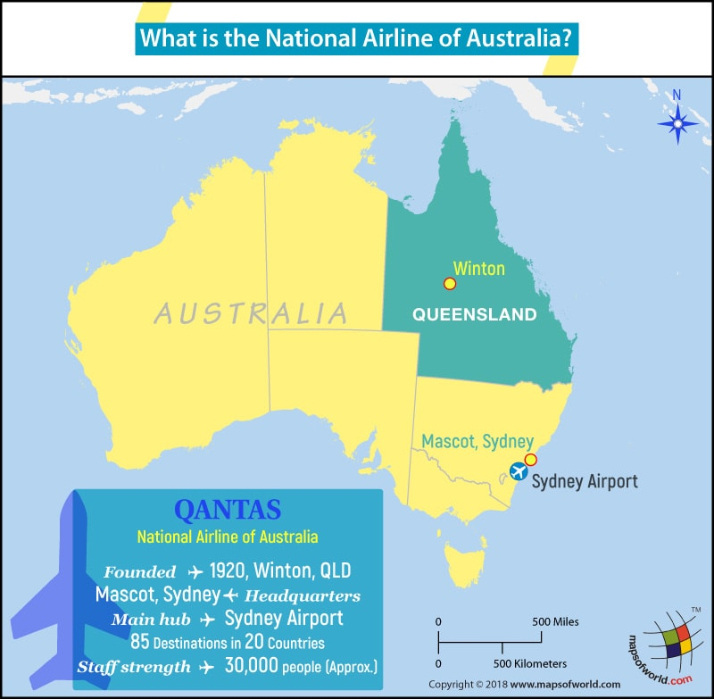 Australia Map highlighting the headquarters of Qantas Airways
