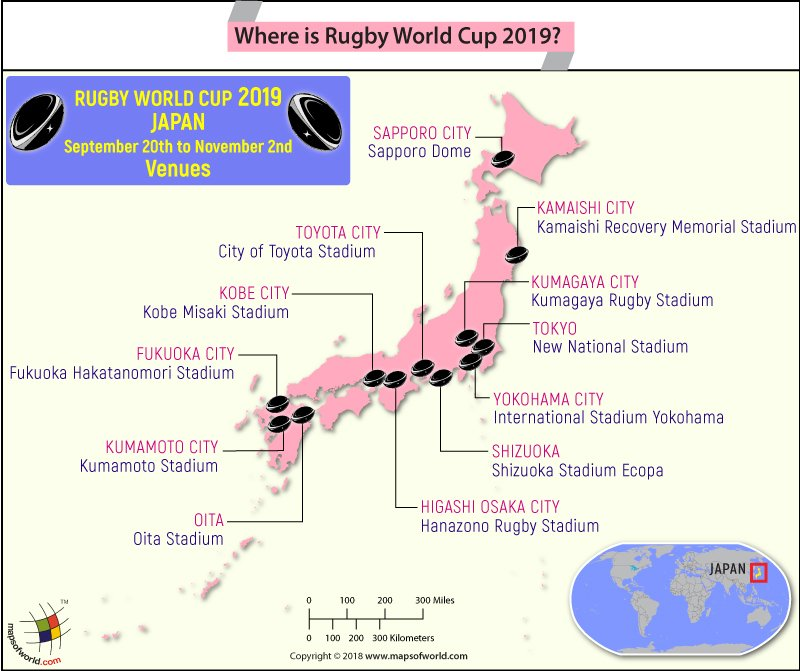 Japan map highlighting the venues of 2019 Rugby World Cup
