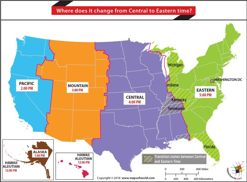 US Time Zone Map highlighting states where it changes from Central to Eastern Time Zone