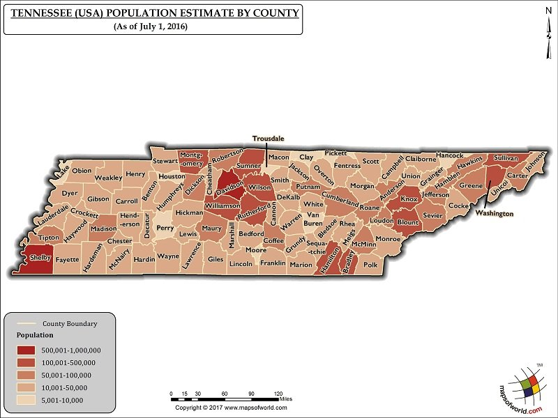 Tennessee Population Map