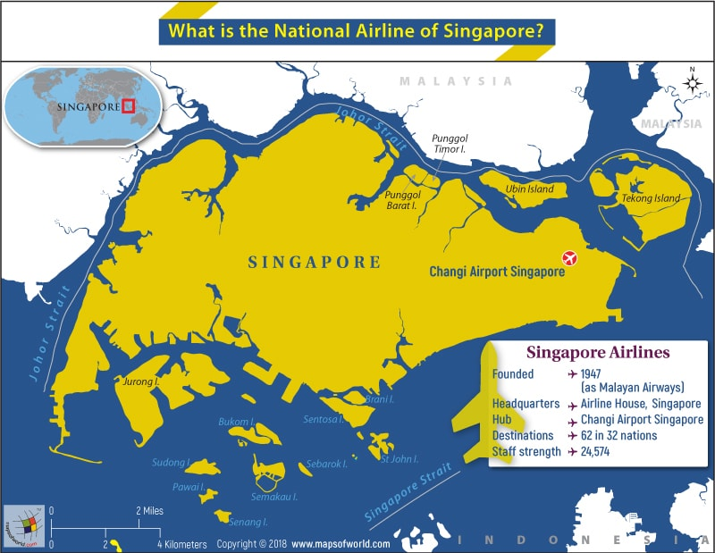 Map of Singapore highlighting HQ and Statistics of Singapore Airlines