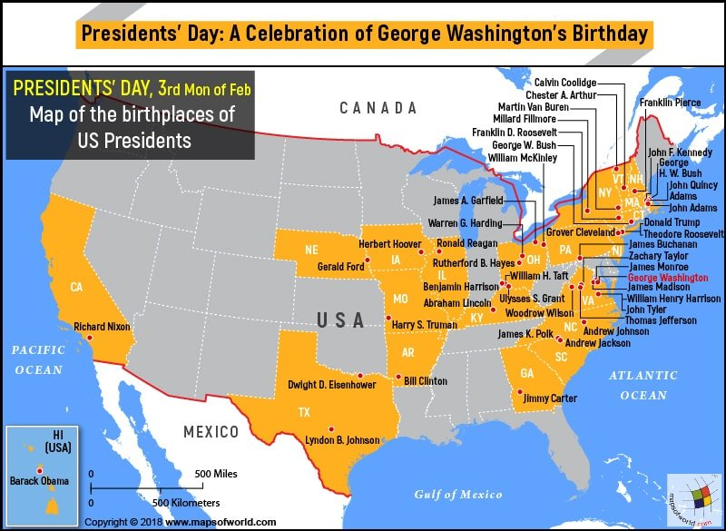 US Map – the birthplaces of US Presidents