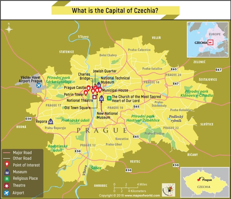 Map of Prague city, the capital of Czechia