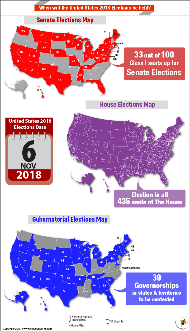 Map of USA highlighting states where election in 2018 will be held