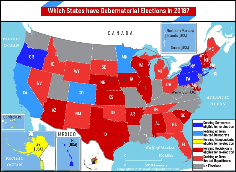 US Map highlighting states having gubernatorial elections in 2018