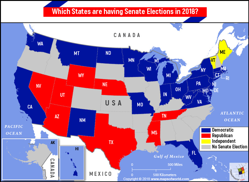 Map of USA highlighting states going to Senate elections in 2018