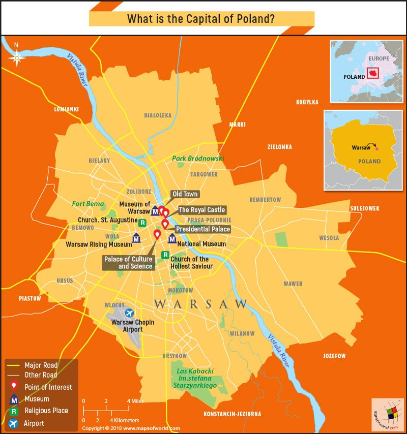 Map of Warsaw, the capital city of Poland