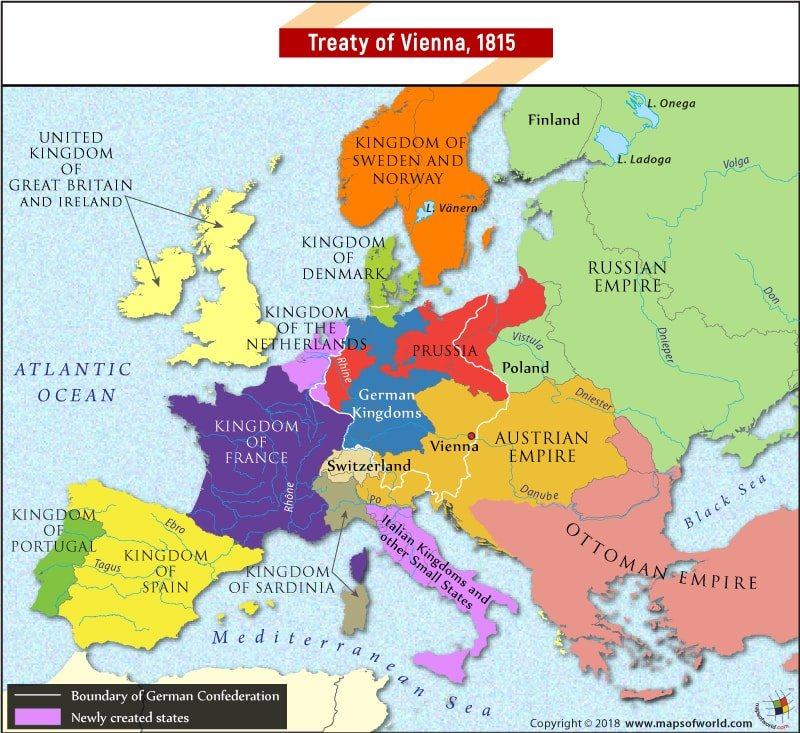 Map of Europe at the time of Treaty of Vienna in 1815