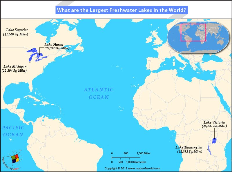 Map of North America and Africa highlighting Largest Freshwater Lakes