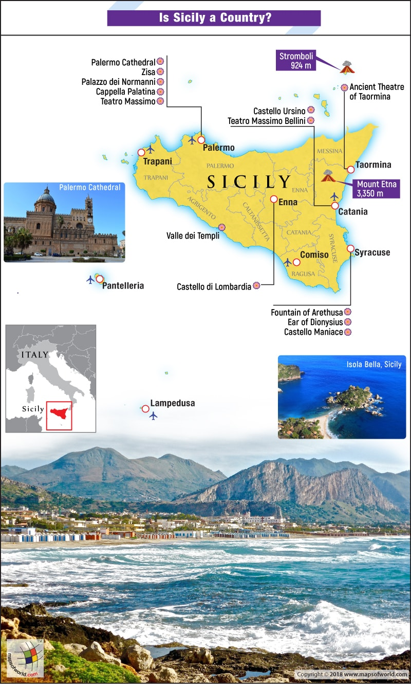Map of Sicily highlighting point of interests