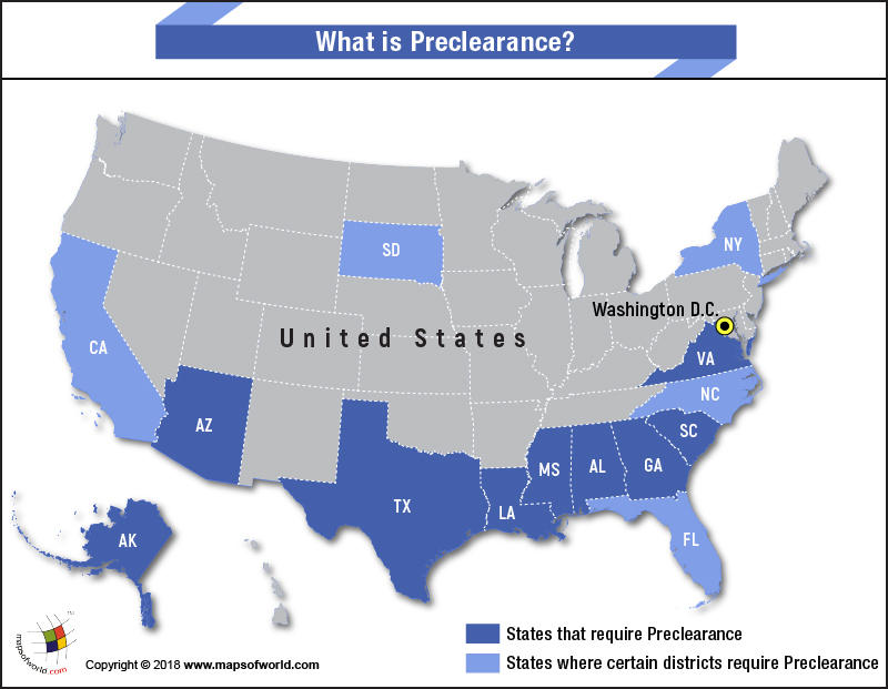 US Map highlighting States that require Preclearance