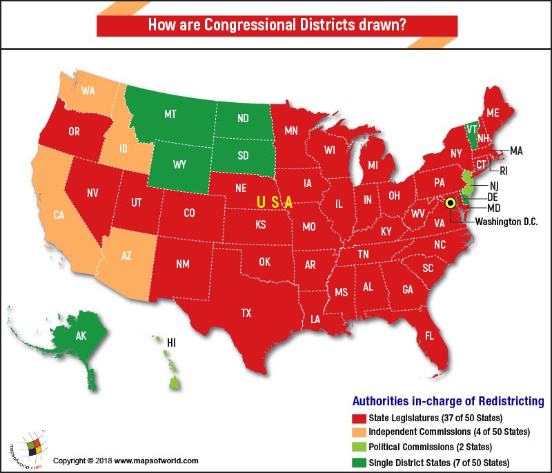 US Map highlighting redistricting authority wise states