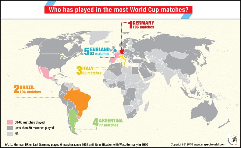 Who has played the most world cup matches answers world map highlighting countries that have played most matches in football world cup gumiabroncs Choice Image