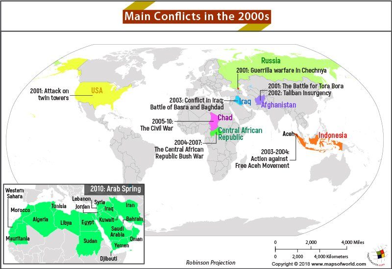 map showing countries that were involved in conflicts during the 2000s