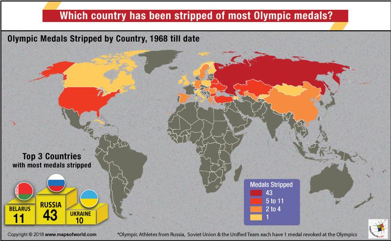 World Map - Countries by Olympic Medals Stripped for Doping