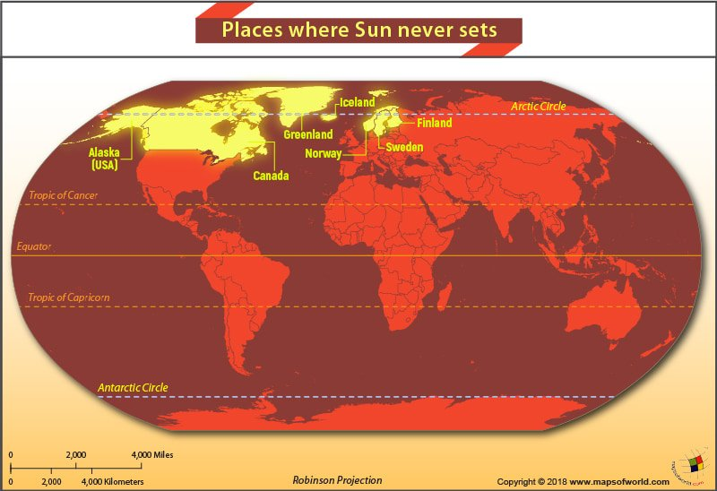 World Map highlighting places where the Sun never sets during the time it reaches its highest point