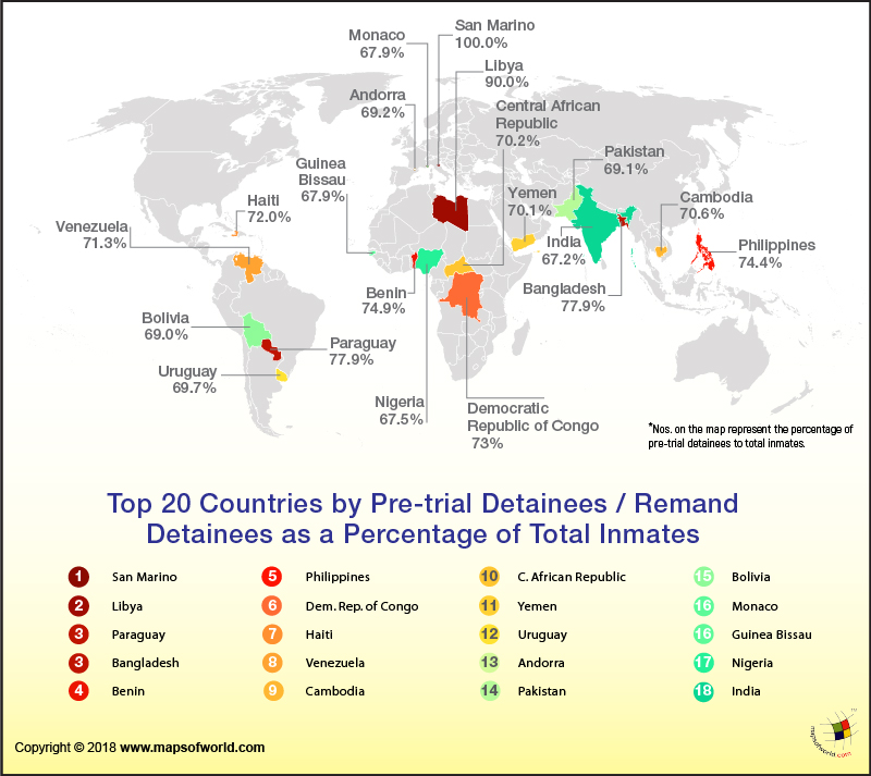 World map showing top 20 countries by pre trial detainees as to world map showing top 20 countries by pre trial detainees as to total inmates gumiabroncs Image collections