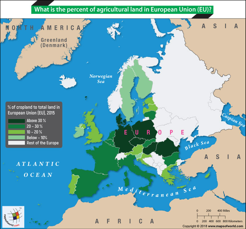 Map of agricultural land in European Union