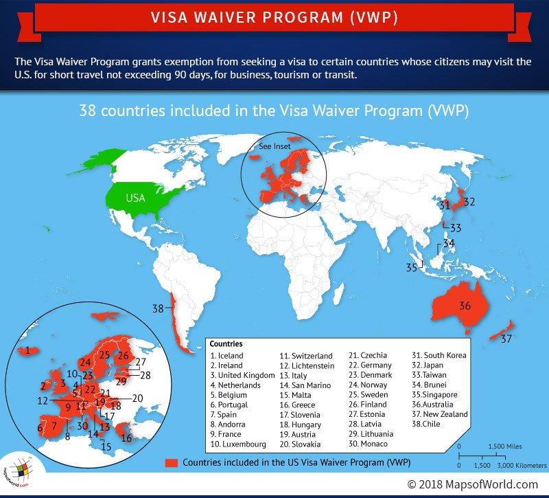 World Map Highlighting Countries Included In The Visa Waiver Program - Us-map-program
