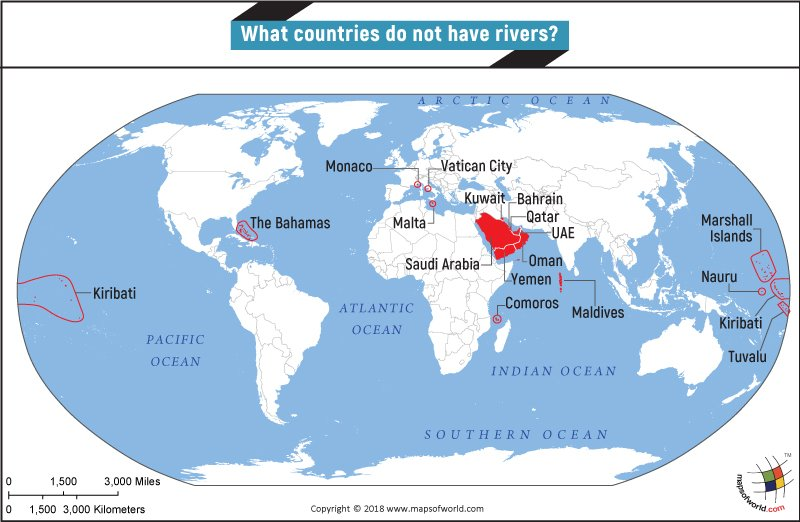 Tigris River World Map What countries do not have rivers?   Answers