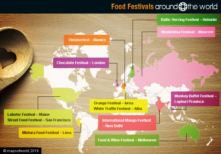 World map - food festivals around the world